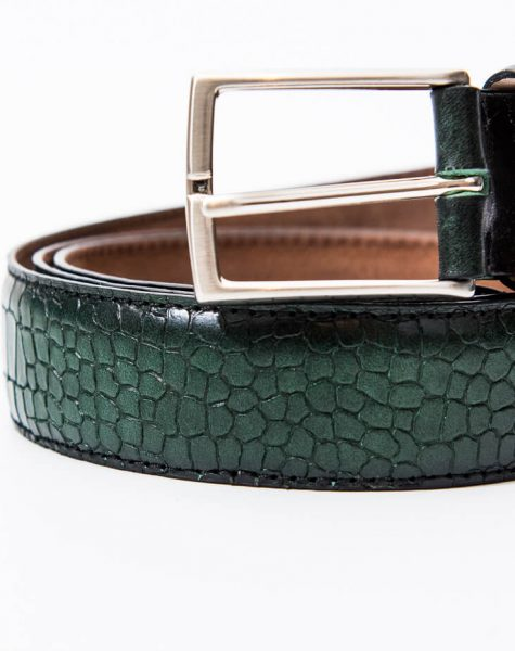 Croc-embossed green leather belt