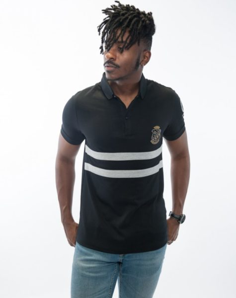 PZ Polo-Black/Gray Stripes