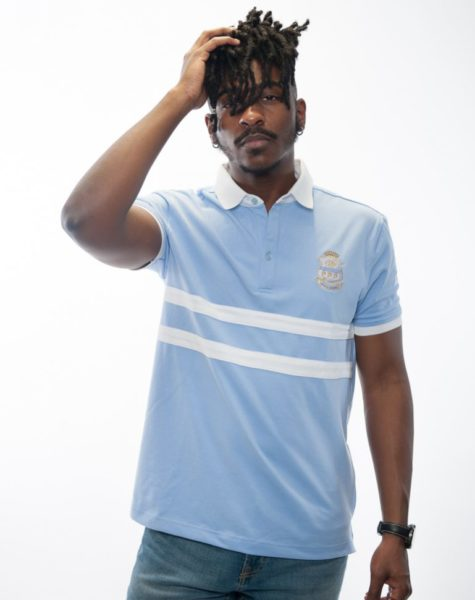 PZ Polo-Carolina Blue/White Stripes
