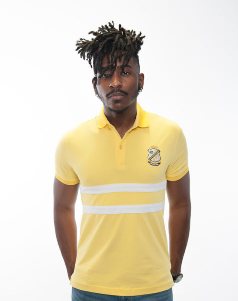 PZ Polo-Canary Yellow/White stripes