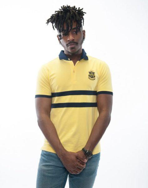 PZ Polo-Canary Yellow/blue stripes