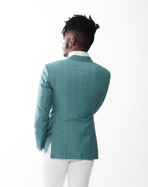 Window Pane Fitted Blazer|Linen